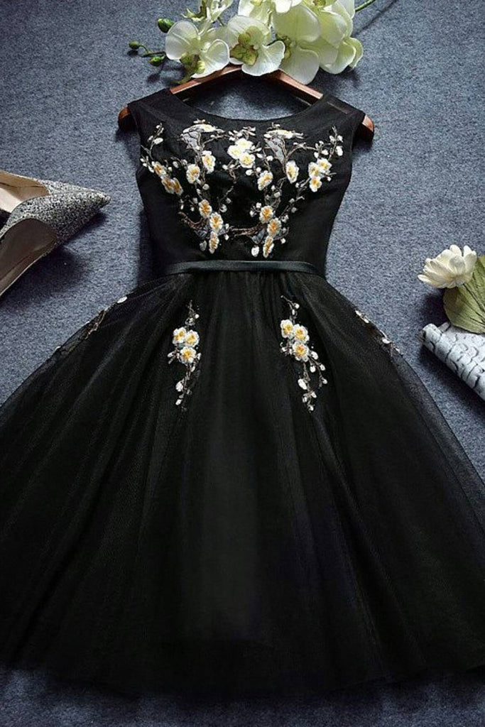 Black Scoop A Line Tulle With Applique Homecoming Dresses
