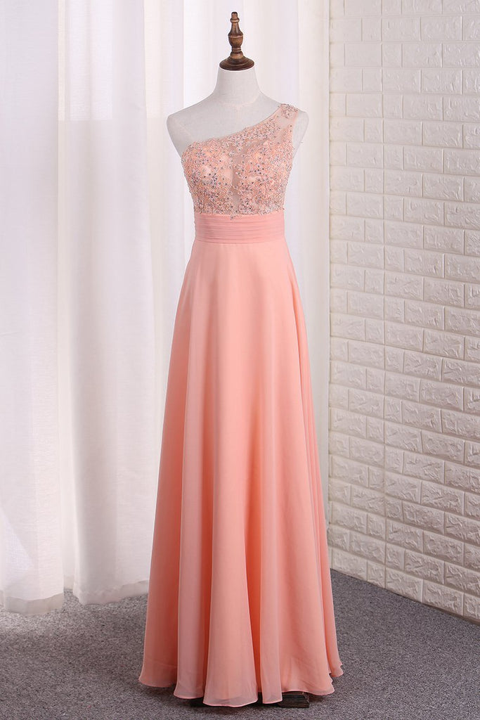 Chiffon One Shoulder A Line Prom Dresses With Applique Sweep Train