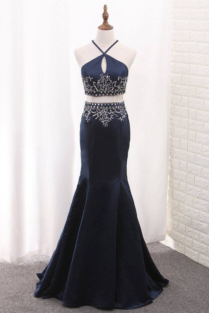 Mermaid Two-Piece Satin Spaghetti Straps Prom Dresses With Beading