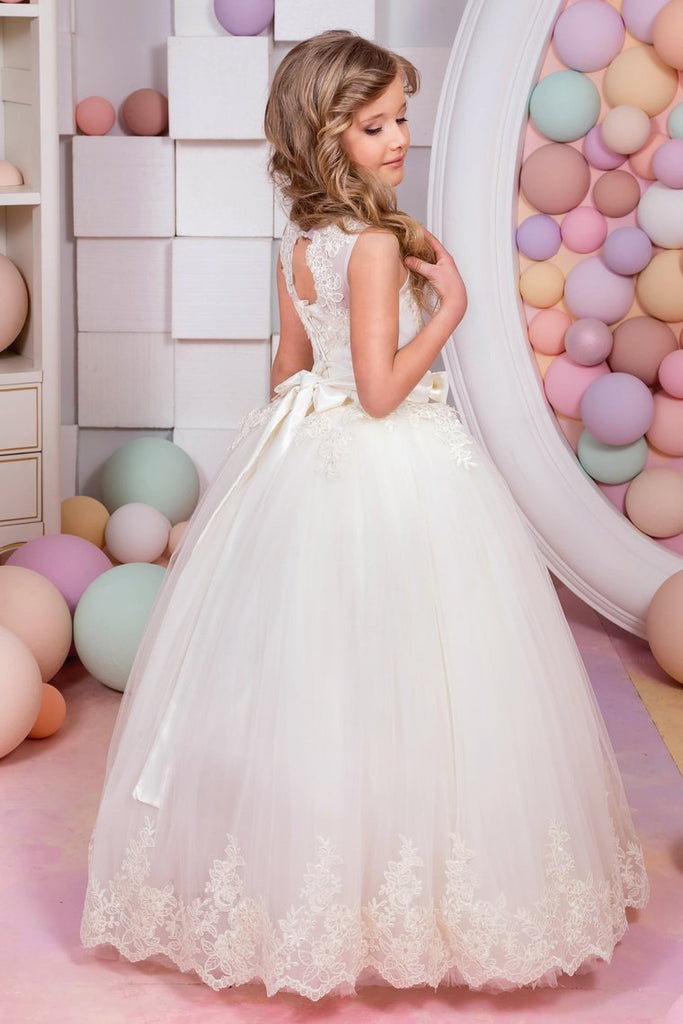 Ball Gown Flower Girl Dresses Scoop Tulle With Applique And Sash