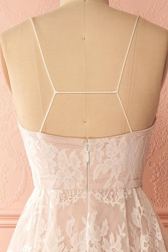 Spaghetti Straps Pink And Ivory Open Back Lace High Low Prom Dresses