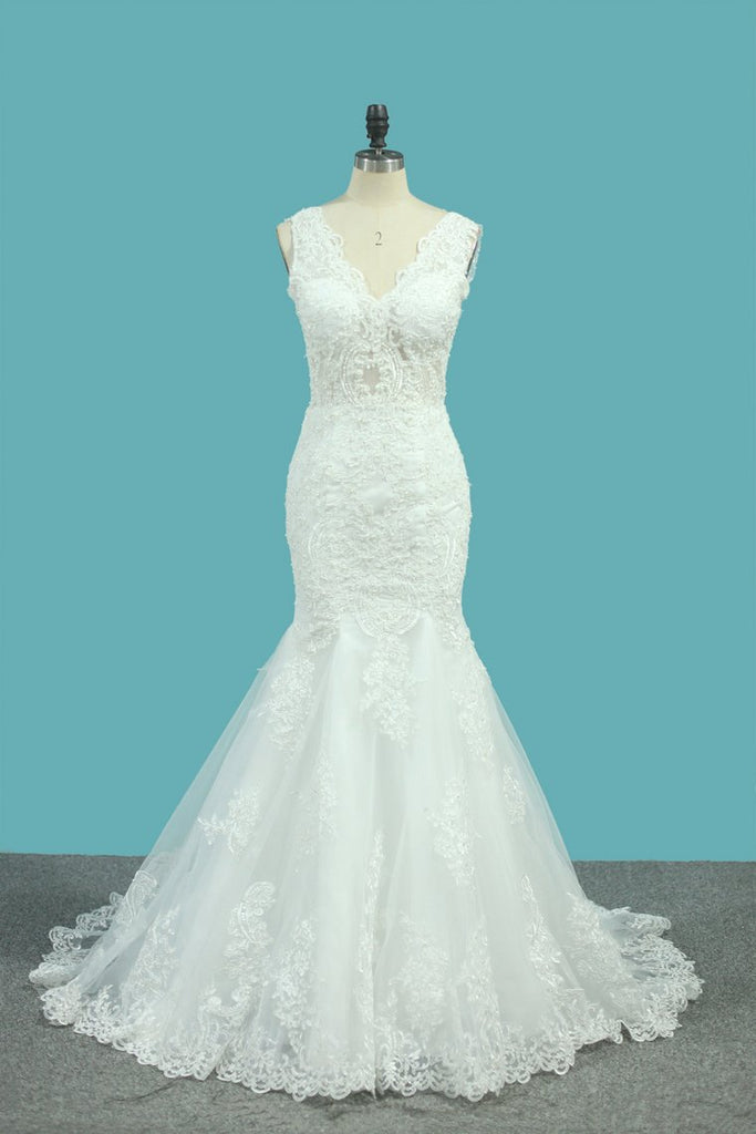 V Neck Mermaid Wedding Dresses Tulle With Applique And Beads Court Train