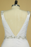 Plus Size Wedding Dresses A Line V Neck Open Back With Beading Stretch Satin