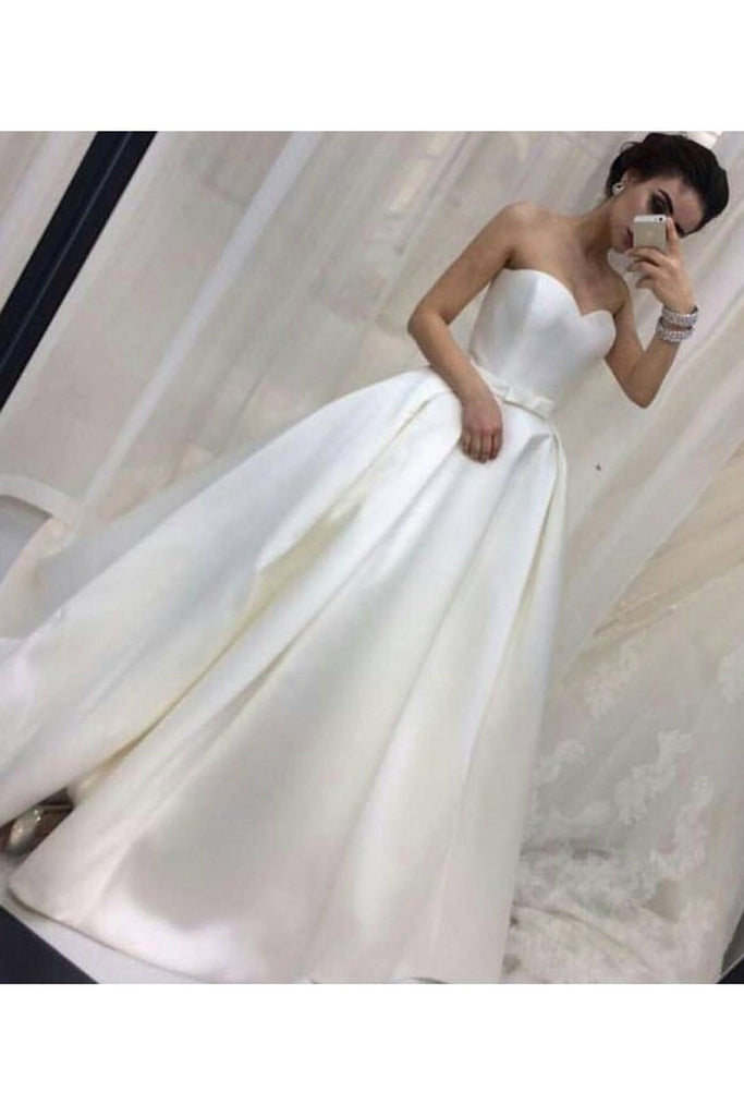 Sweetheart Satin Wedding Dresses A Line With Sash