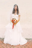 A-Line Short Sleeve Long Ivory Tulle Sweetheart Beaded Cute Backless Wedding Dresses UK JS335