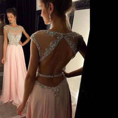 Backless Beaded Blush Pink Long Sexy Open Back Cap Sleeve Scoop Prom Dresses JS964
