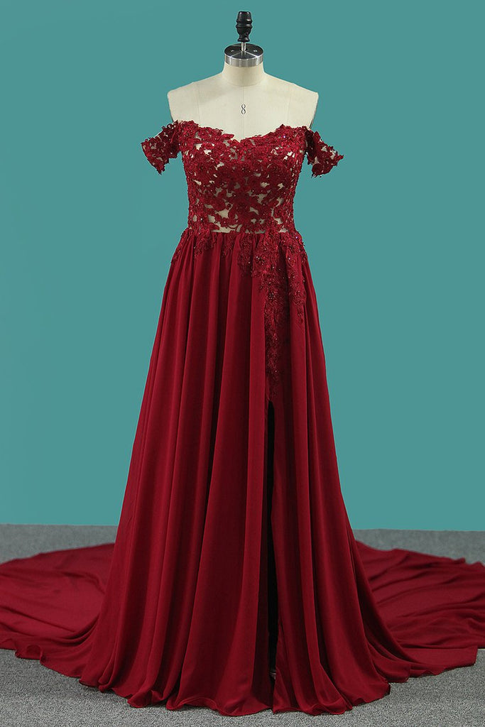 A Line Chiffon Off The Shoulder Prom Dresses With Applique And Beads