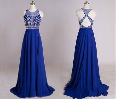 Backless Royal Blue Open Back Sleeveless Halter Chiffon Formal Gown For Senior Teens JS990