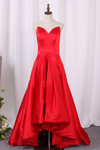 Asymmetrical Prom Dresses V Neck Satin Red