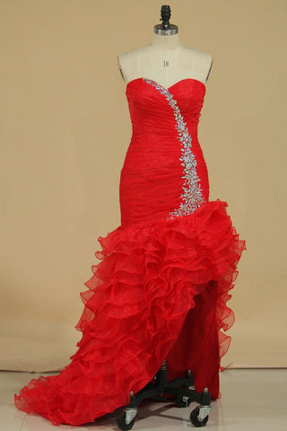 Red Sexy Prom Dresses Mermaid/Trumpet High Low Organza