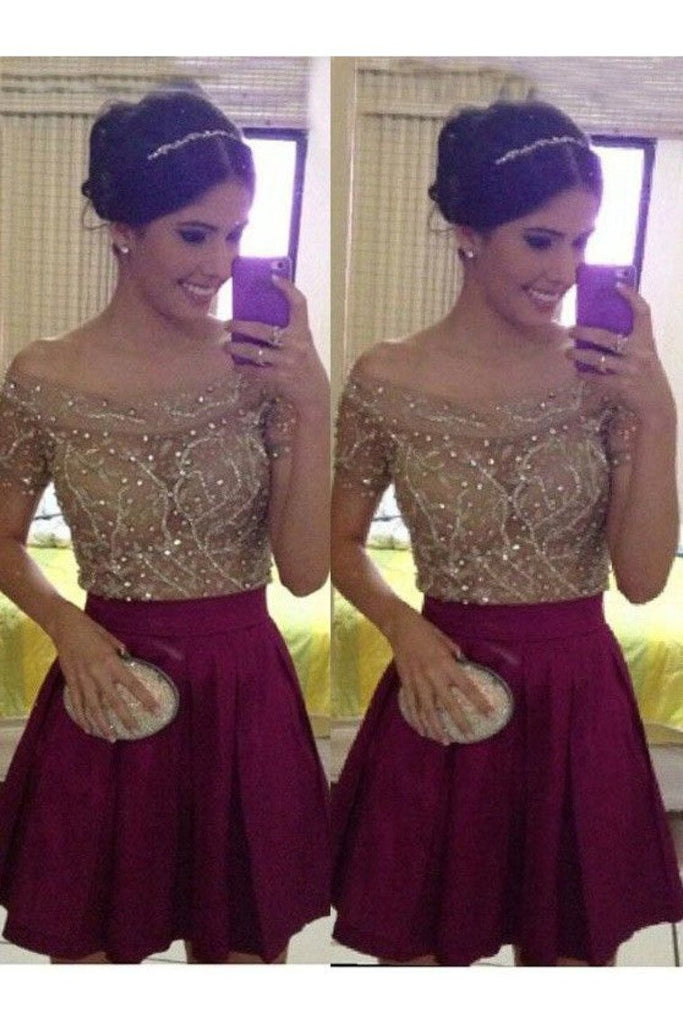 Homecoming Dresses Boat Neck Short Sleeves Beaded Bodice A Line Chiffon