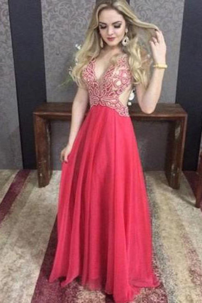 Chiffon V Neck Beaded Bodice Open Back A Line Prom Dresses