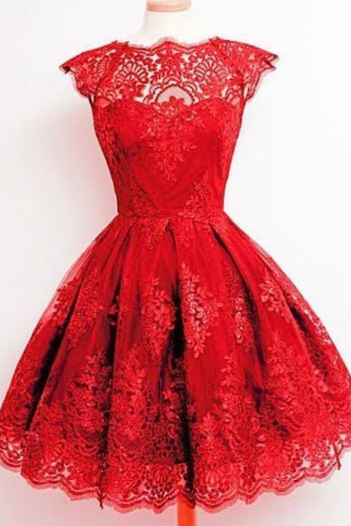 Bateau Homecoming Dresses A Line Tulle With Applique