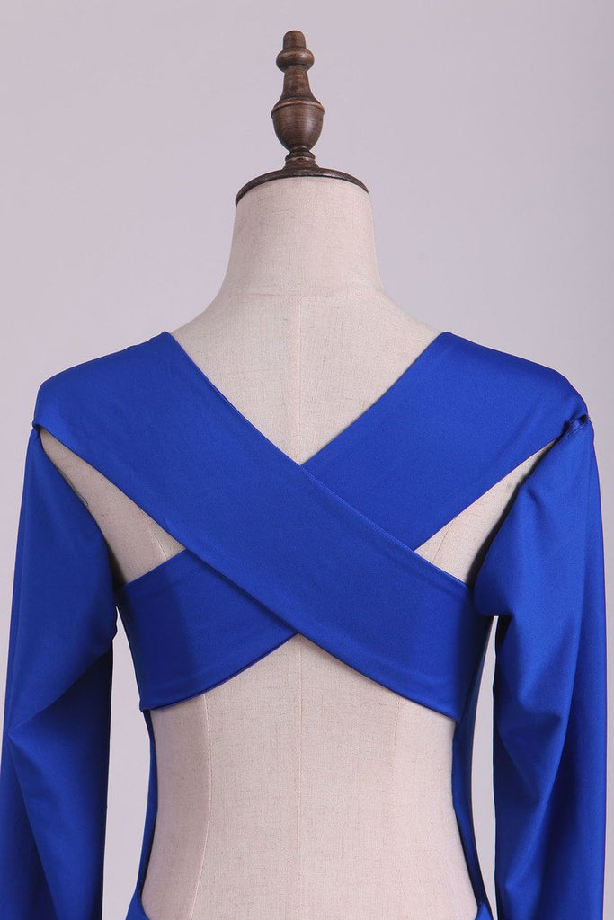 Scoop Prom Dresses Long Sleeves Spandex Open Back Drak Royal Blue