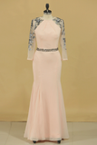 Mermaid Scoop 3/4 Length Sleeves Evening Dresses Mermaid Chiffon With Applique