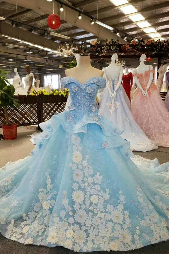 Special Color Wedding Dresses Lace Up With Handmade Flower Sweetheart Neck