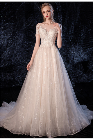 Ball Gown Tulle Wedding Dresses Short Sleeves Appliques Court Train