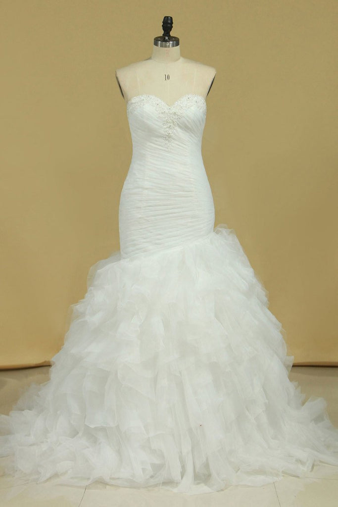 Plus Size Sweetheart Ruched Bodice Wedding Dresses Mermaid Tulle With Beading Court Train