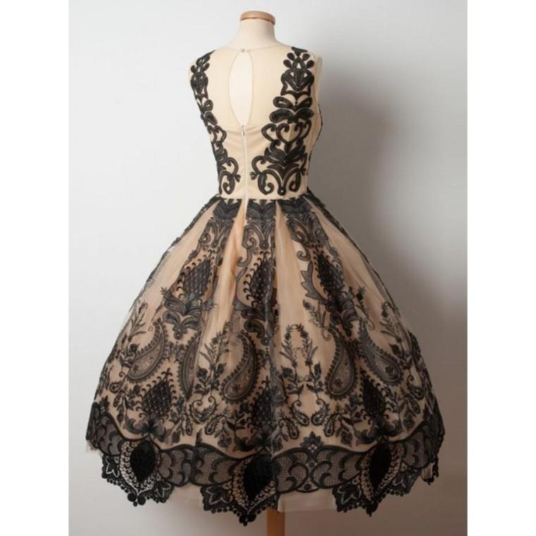Homecoming Dresses A Line With Applique Tulle Scoop