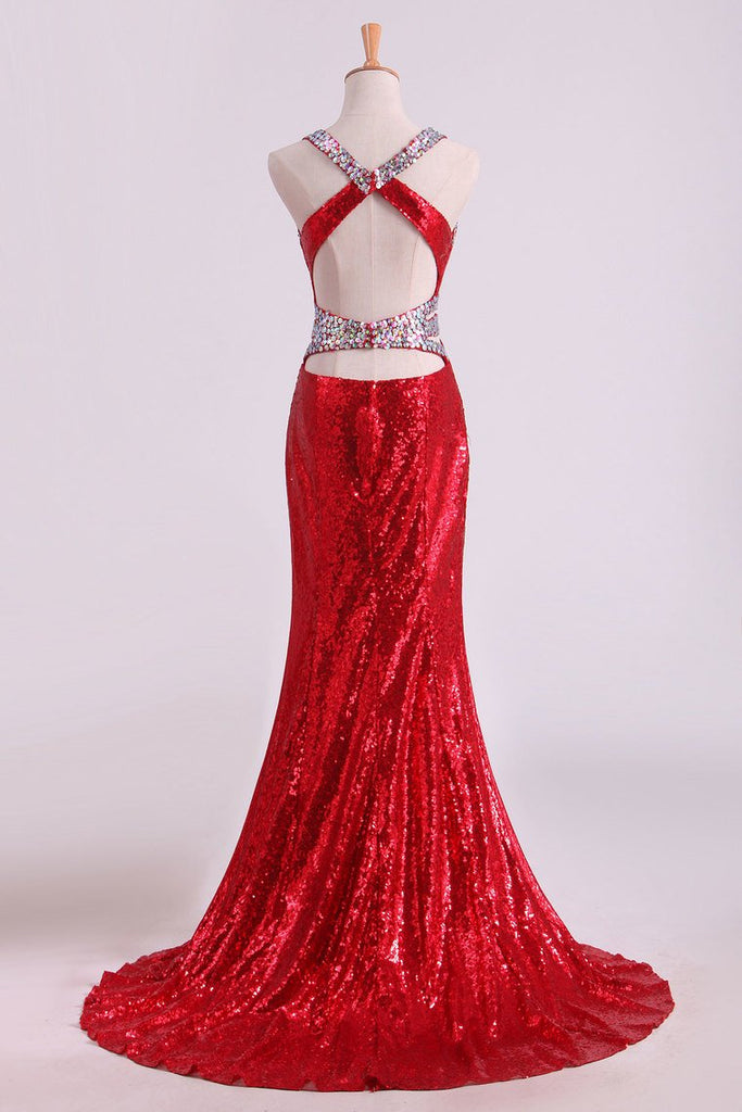 Halter Prom Dresses Mermaid With Beading Sweep Train