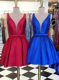 A-line Knee-Length V-neck Satin Red/Blue Ribbon Homecoming Dress JS457
