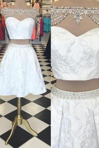 Trendy Two Piece Bateau Cap Sleeves Short White Homecoming Dress Beading Lace JS454