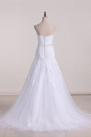 2019 Wedding Dresses Sweetheart Tulle With Applique And Beads Mermaid