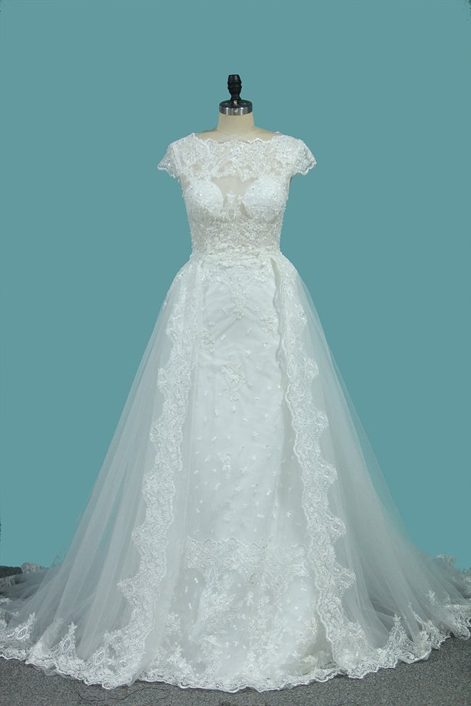 Scoop Tulle Mermaid Wedding Dresses With Applique Royal Train Detachable