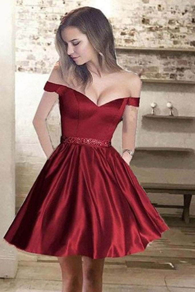 Satin With Pockets Homecoming Dresses A-Line Off-The-Shoulder