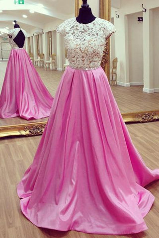 White lace open back long rosy satin prom dress lace graduation dress