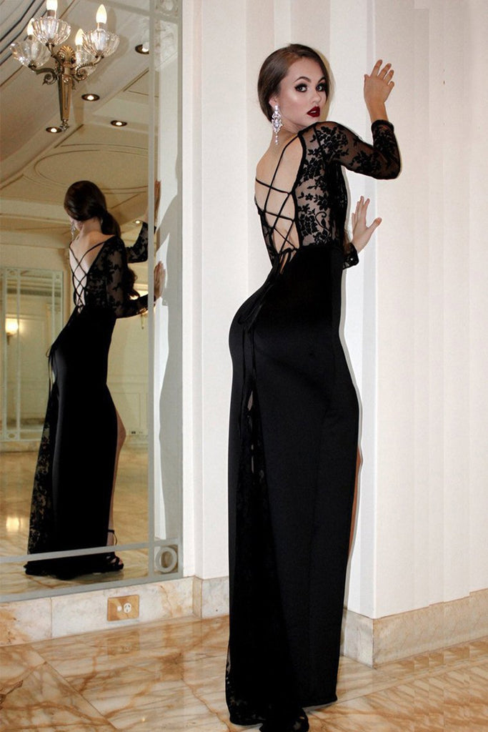 Lace Illusion Long Sleeves Prom Dress, Black Sheath Backless Evening Dress With Split