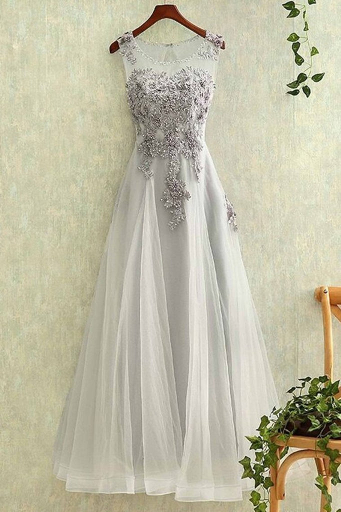 Tulle With Applique A Line Prom Dresses Scoop Lace Up