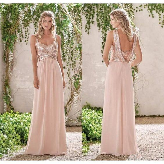 Rose Gold A Line Straps Backless Sequins Chiffon Bridesmaid Dress Vintage Prom Dress