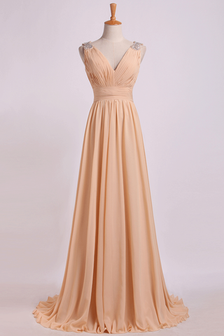 Bridesmaid Dress V Neck A Line Floor Length Chiffon With Beads