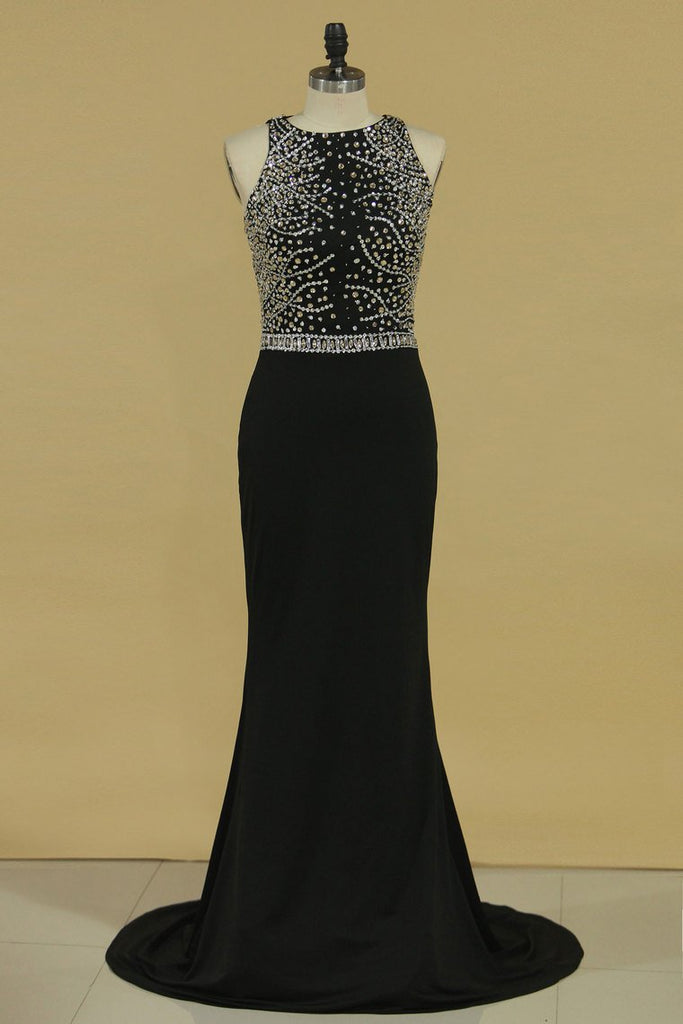Prom Dresses Scoop Spandex With Beading Mermaid Sweep Train