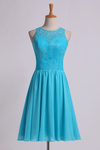 2019 Bridesmaid Dresses Classic Scoop Fitted Bodice A Line Above Knee Length Chiffon&Lace