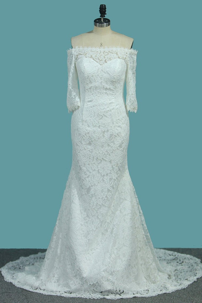 Lace Mermaid Boat Neck 3/4 Length Sleeves Wedding Dresses Sweep Train