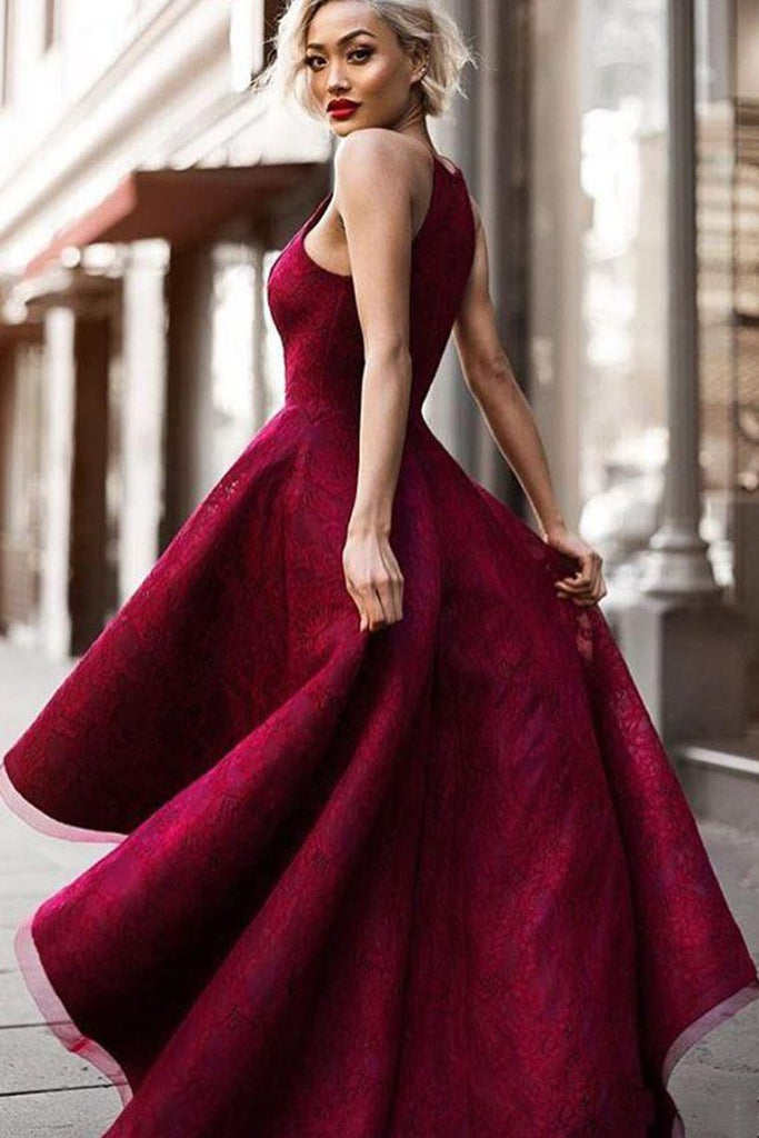 Burgundy/Maroon Lace Halter Prom Dress High Low