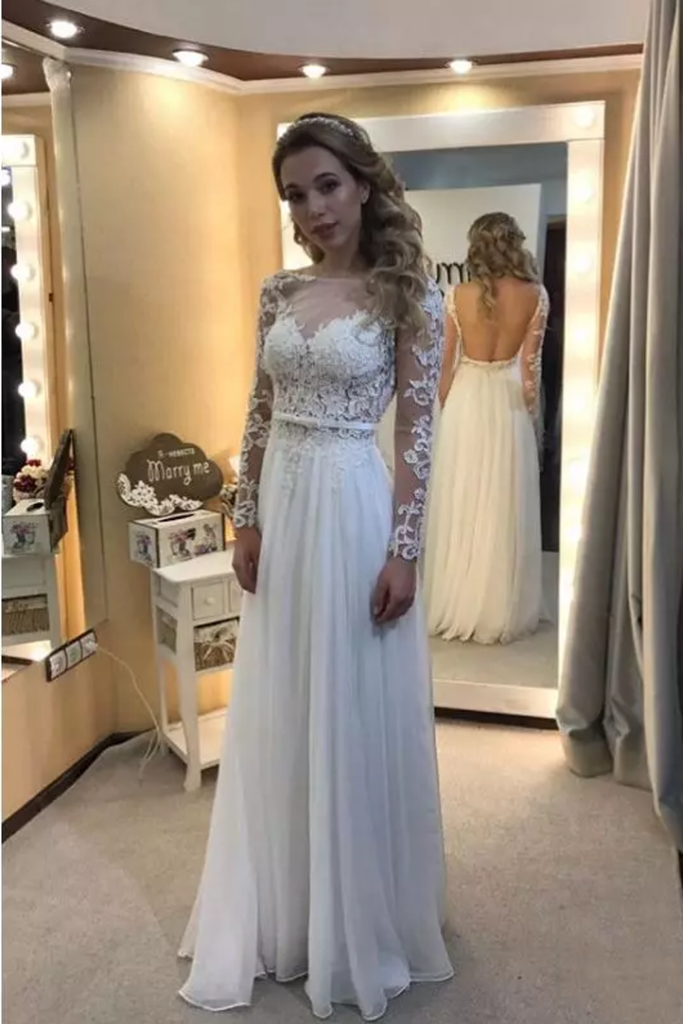 Wedding Dresses Bateau Long Sleeves Open Back Chiffon With Applique