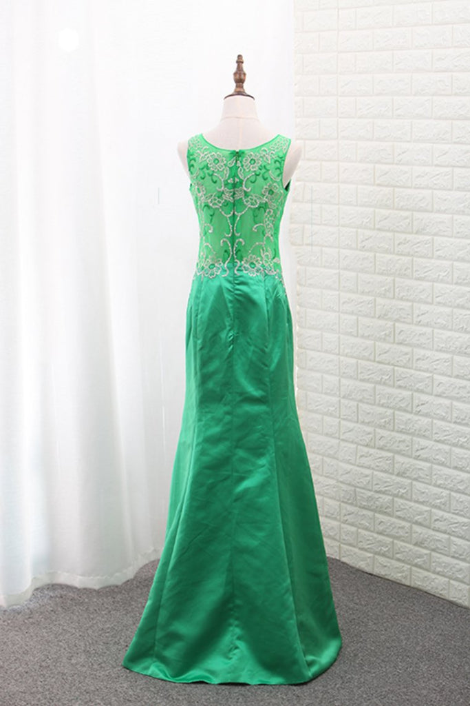 Scoop Satin Mermaid Prom Dresses With Embroidery Floor Length