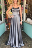 Beautiful Silver Gray Long A-Line Spaghetti Straps Prom Dresses Party Dresses