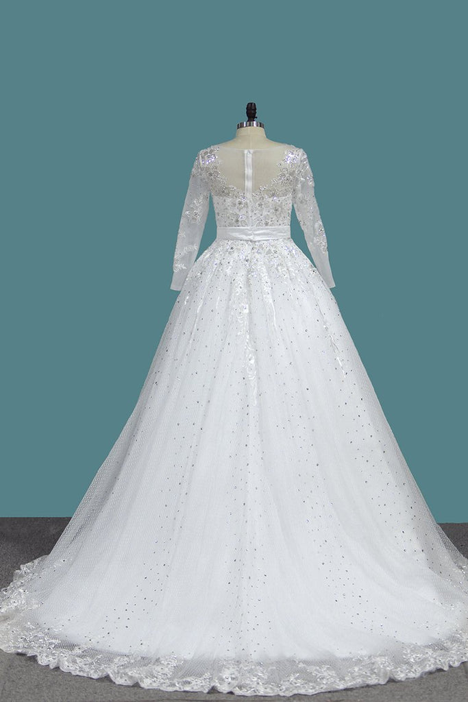 A Line Long Sleeves Wedding Dresses Tulle With Applique Sweep Train