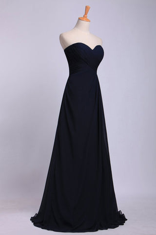 2019 Full Length Sweetheart Chiffon Bridesmaid Dresses Shirred Bodice Empire Waist Chiffon Skirt