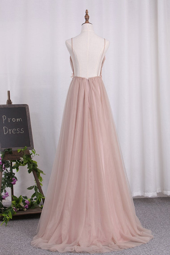 Prom Dresses Spaghetti Straps Tulle With Applique And Handmade Flower