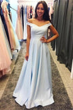 Charming Off The Shoulder Long Light Sky Blue Simple Prom Dresses