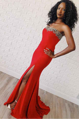 Strapless Red Satin Beading Trumpet Mermaid Prom Dress