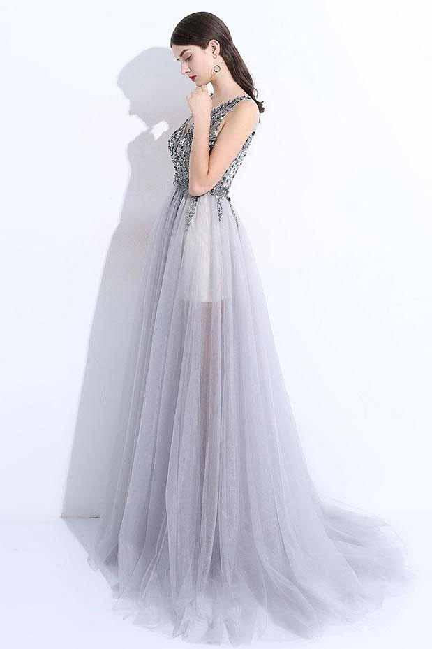 New A-Line V-Neck Grey Tulle Beaded Long Sleeveless Backless Prom Dresses with Split JS884
