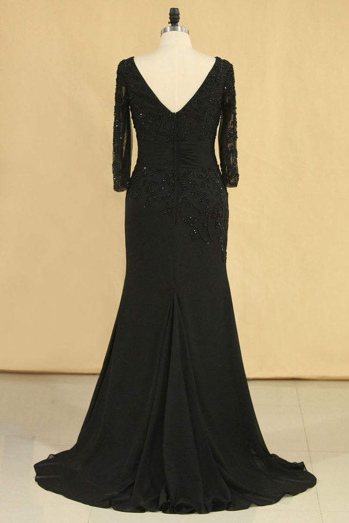 Black Mother Of The Bride Dresses V Neck Chiffon With Beads 3/4 Length Sleeve