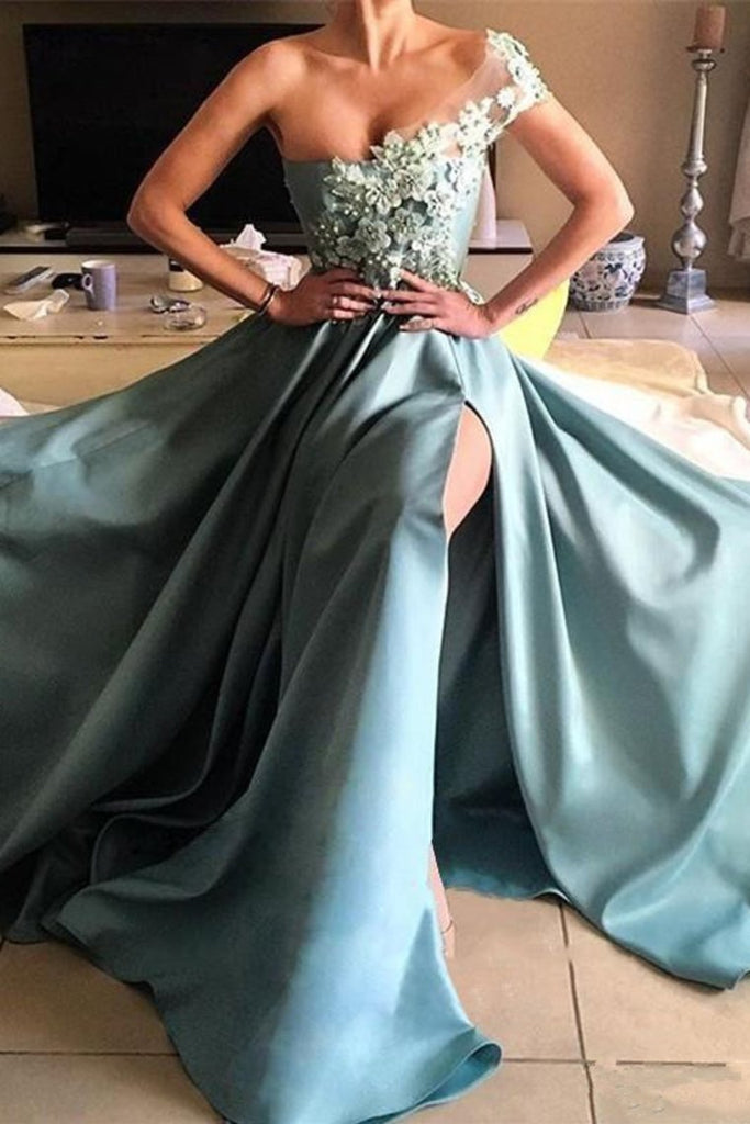 Satin Prom Dresses A Line One Shoulder With Handmade Flowers And Slit