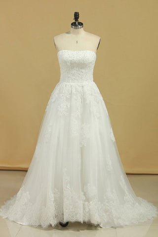 Wedding Dresses Strapless Tulle With Applique A Line Court Train